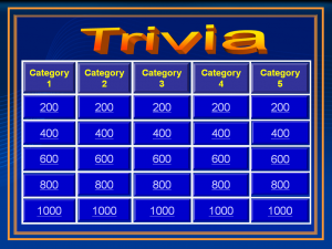 Audience Response System Jeopardy Trivia Game